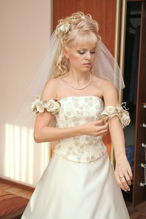 primp: Bride dresses gown Stock Photo