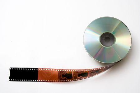 megabytes: 35 mm film and disk on white background. Evolution.