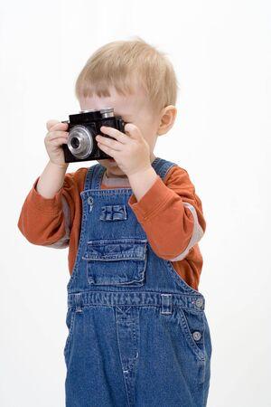 overalls: Boy on white background