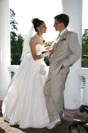 weddingrings: Married. Newlywedses on walk in park Stock Photo
