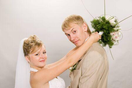 Married. Portrait newlyweds in studio photo