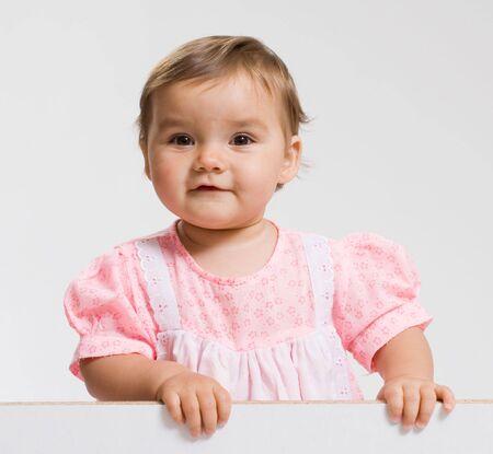 sissy: Pretty baby. Pretty baby on white background. Stock Photo