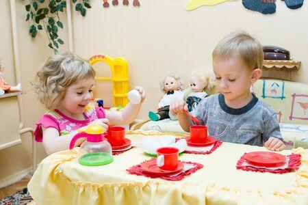 nice food: Friends. Children game of kindergartens.