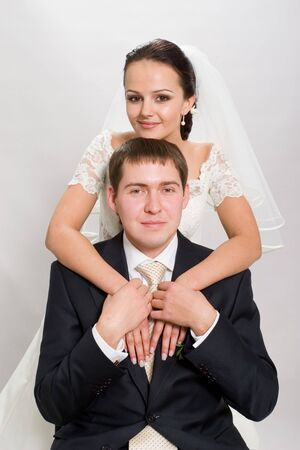 Just married. Married on the white background. Stock Photo - 640628