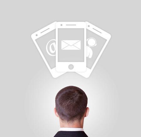 overhead: phone call email message overhead illustration