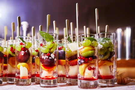 Fruit cocktail salad in a glass cups Stock Photo