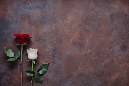 White and red rose on a beautiful stone background