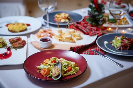 Beautiful Christmas table settings. Background image 写真素材