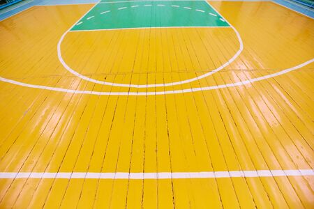 School sporting hall. Detail of markings on the floor in the gym