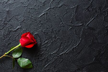 Red rose on a black background, stone. A condolence card. Empty space for emotional, quotes or sayings. The view from the top