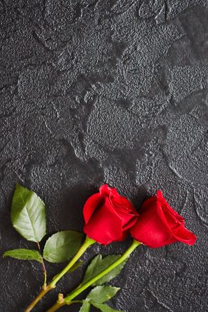 Two red roses on a dark, black stone background. Place for text