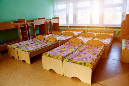 Beds in a boarding school, orphanage, center for displaced children, refugees or in a temporary accommodation center.