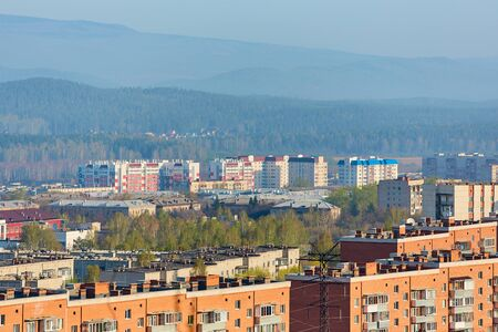 the town Miass , is located in Chelyabinsk oblast, Russia. In the background, the Ural mountains, Ilmen ridge and the village of Turgoyak.