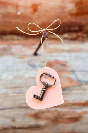 Beautiful old key with a heart and a bow. Hanging on a carnation. A romantic Declaration of love. Valentine