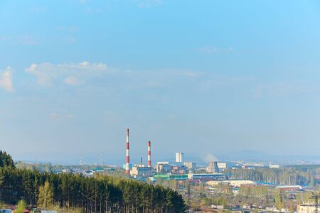 View of industrial enterprises located in the city of Miass, Chelyabinsk region, in the southern Urals