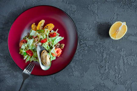 Seafood salad with citrus in a round plate on a gray textured background.