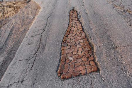 Pit road, laid old brick. Life hack