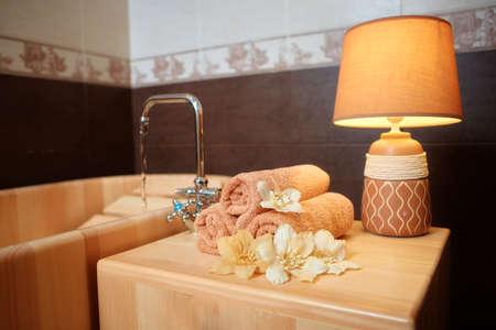 Relaxing cedar wood bath with hydro massage.