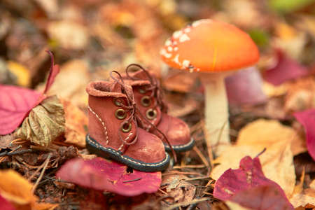 Brown leather toy shoes. Selective focus