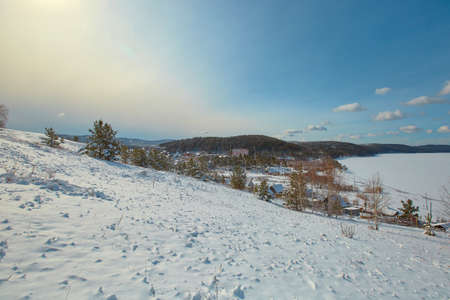 Southern Urals, lake Turgoyak in the Chelyabinsk region, near the city of Miass. Winter landscape.