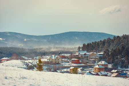South Urals. The village of Turgoyak in the winter.