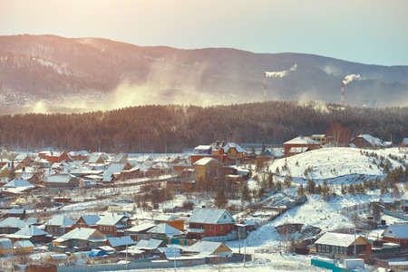 Typical South Ural village in winter.