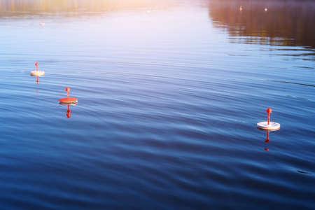Fishing circles float on the quiet autumn lake waiting for predatory fish to bite. 免版税图像