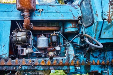 Front view of an old tractor engine.