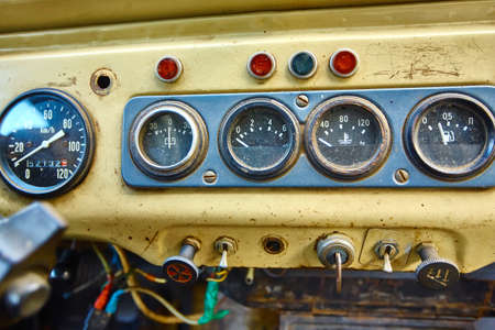 Old dashboard of a Russian SUV car.