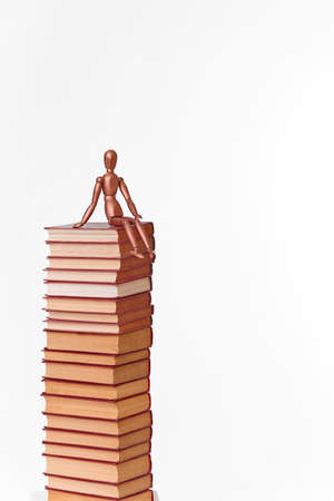 A wooden man sits on a stack of books