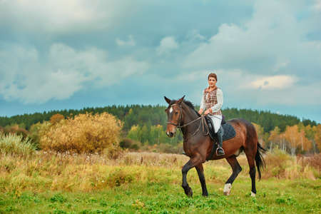 Beautiful young woman riding a horse in a field. Sideways to the camera. Freedom, joy, movement