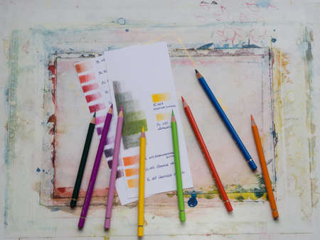 Colored pencils color swatches Stock Photo