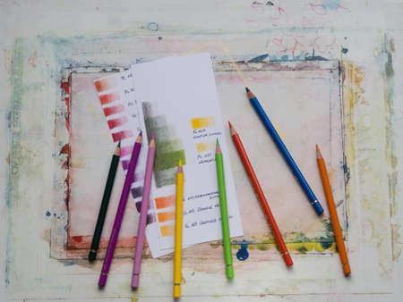 colored pencils: Colored pencils color swatches Stock Photo