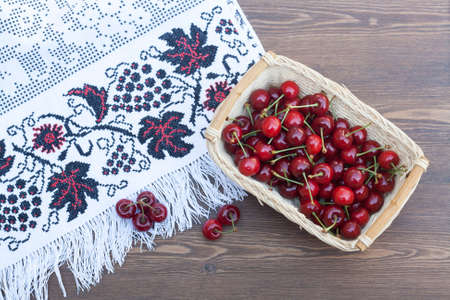 basket embroidery: Fresh cherries on embroidered towel