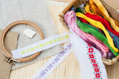 basket embroidery: Sewing and ambroidery craft kit, embroidery thread in basket and other tools, selective focus