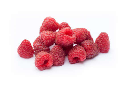 Fresh sweet red raspberry with leaves isolated on white Stock Photo