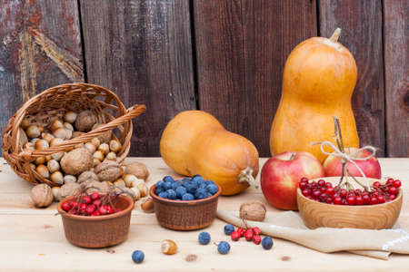 guelder rose berry: Autumn still life with pumpkins and autumn berry and vegetables on old wooden background, closeup