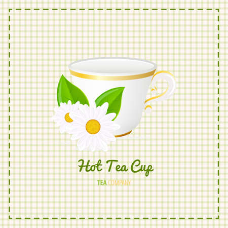 steam of a leaf: tea cup close up with white daisy on checkered background. File with transparent objects. Illustration