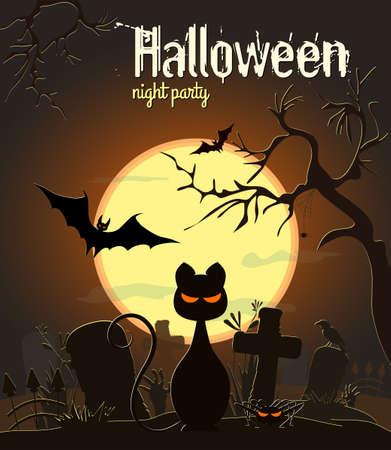 Halloween black cat and other characters old cemetery on green Moon background, vector illustration. Illustration
