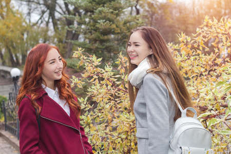 Two happy young girls at bright autumn background Stock Photo