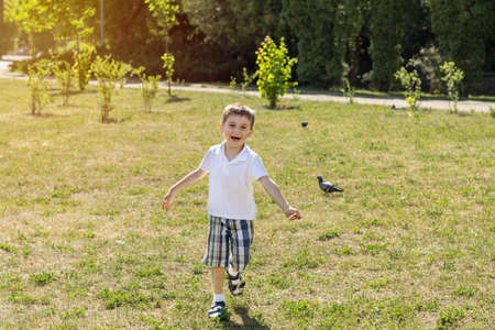 Happy little boy running on a lawn in the city park on a summer sunny day. Close up. Beautiful summer background with copy space Stock Photo - 92922668