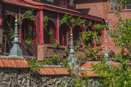 Wild grapes on the walls of a Buddhist temple in central Europe. Wooden terrace of red building with live plants. Stock Photo - 101074071
