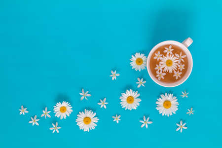 Cup of tea with fresh flowers blossom bouquets on blue surface. Flat lay, top view food floral background.