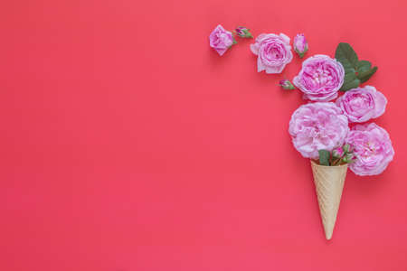 Waffle cone with pink roses flower bouquet on pink background. Flat lay, top view floral background.