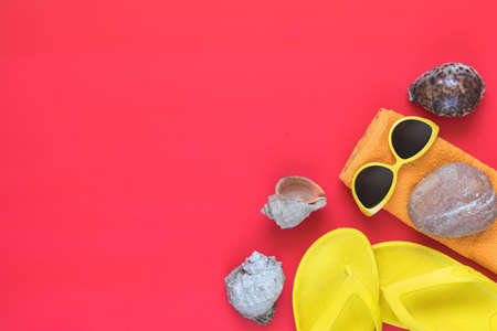 Summer accessories with seashells on pink floor. Flat lay, top view vacation background. Stock Photo - 102826668