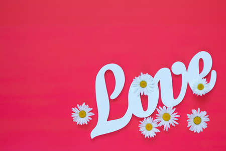 White letters forming word LOVE written with chamomile flowers on pink background. St. Valentines Day, wedding holiday concept. Stock Photo