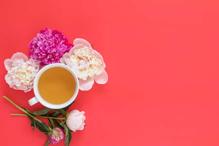 Cup of tea with white and pink peonies flower bouquet on pink red background Stock Photo - 102826658