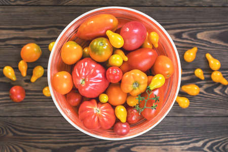 Many different red orange yellow tomatoes on dark wooden surface. Beautiful food art background, top view. Stock Photo - 107593824
