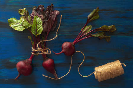 Pile of homegrown organic young beets with green leaves on dark blue wooden table. Fresh harvested beetroots on blue black background. Top view. Stock Photo - 109102380