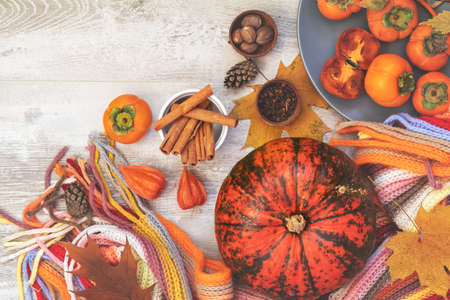 Green and orange Pumpkin, persimmons and ingredients for tasty vegetarian cooking on light wooden surface, autumn decoration, food art background, top view. Stock Photo